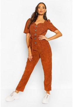 Tan Chunky Cord Button Front Boiler Suit