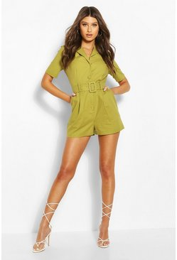 Olive Linen Look Tailored Blazer Romper