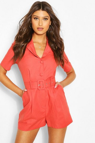 Terracotta Linen Look Tailored Blazer Playsuit