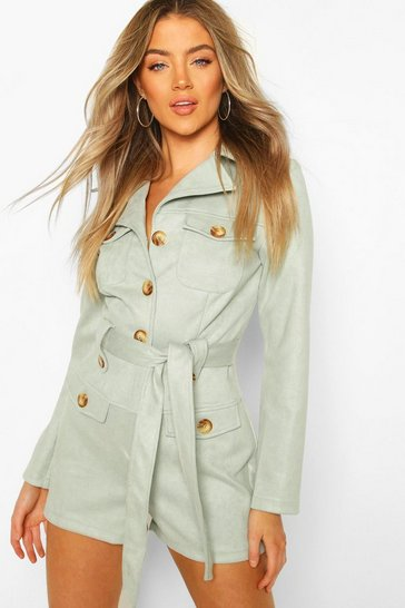 Dusty blue Bonded Suede Utility Playsuit