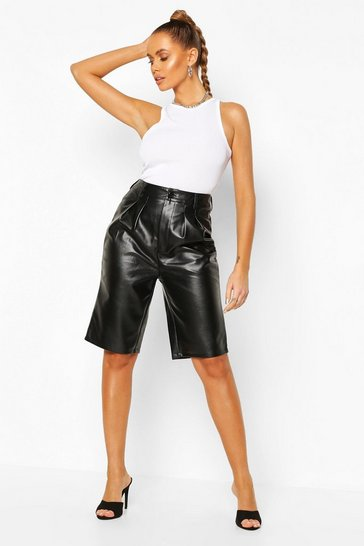 Black Leather Look Tailored City Short