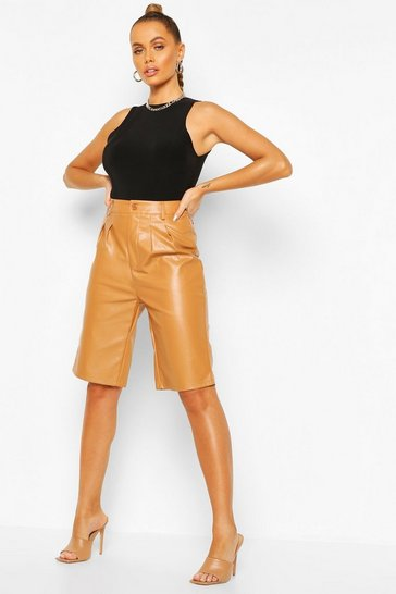 Tan Leather Look Tailored City Short