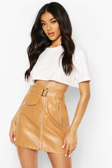 Tan Zip Detail Leather Look Mini Skirt