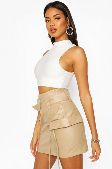 Taupe Leather Look Pocket Side Mini Skirt