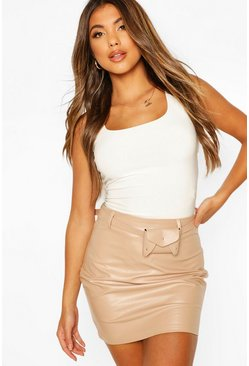 Taupe Belted Leather Look Mini Skirt