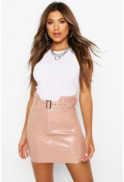 Nude Belted Panel Detail Leather Look Mini Skirt