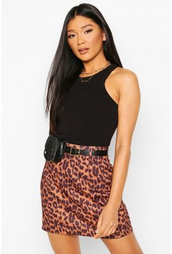 Leopard Print Mini Skirt With Belt