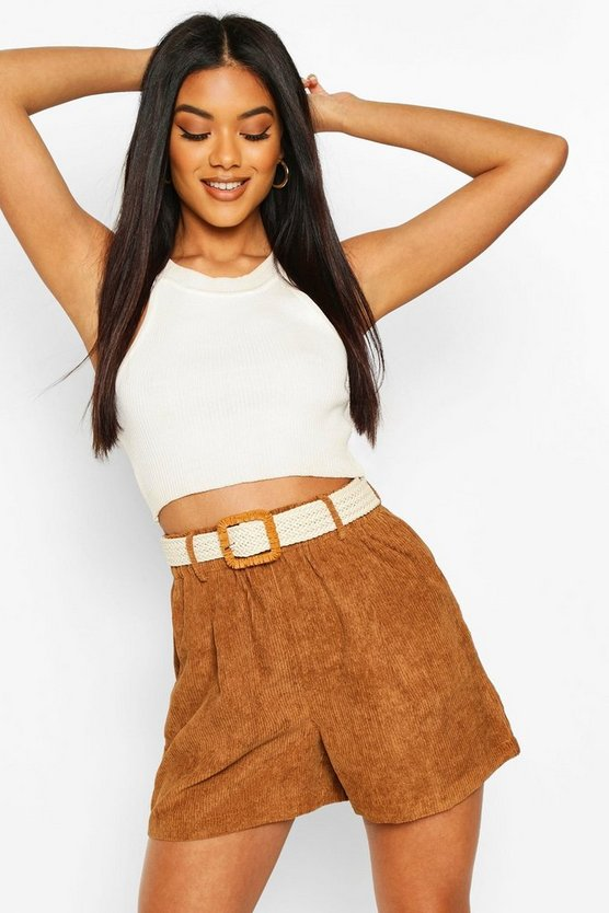Tan Chunky Cord Shorts With Plaited Belt