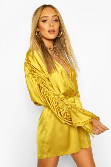Chartreuse Ruched Sleeve Satin Playsuit