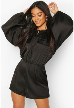 Black Matte Satin Balloon Sleeve Utility Romper