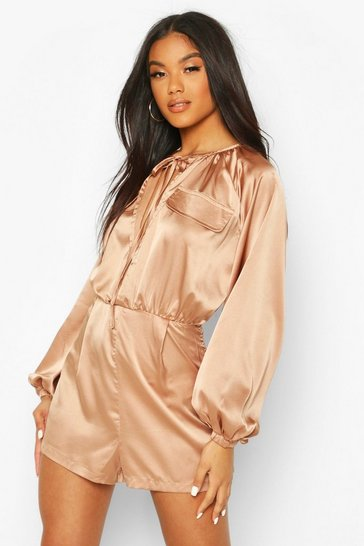 Sand Matte Satin Balloon Sleeve Utility Playsuit
