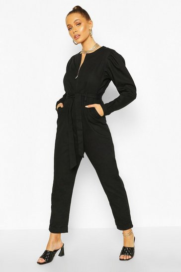 Black Puff Sleeve Belted Twill Boiler Suit