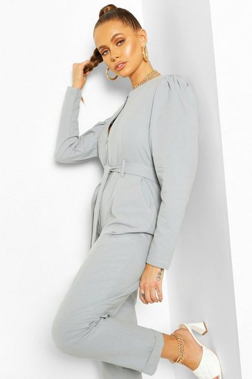 Blue Puff Sleeve Belted Twill Boiler Suit