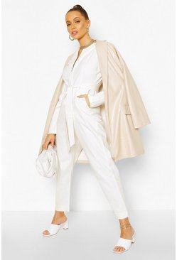 Cream Puff Sleeve Belted Twill Boiler Suit
