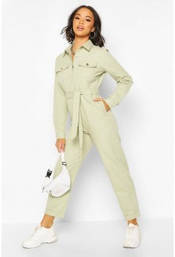 Sage Twill Contrast Stitch Woven Boiler Suit