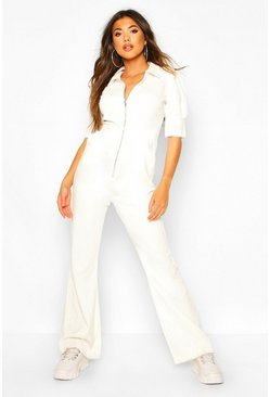 Ivory Puff Sleeve Baby Cord Wide Leg Jumpsuit