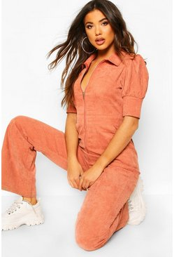 Tan Puff Sleeve Baby Cord Wide Leg Jumpsuit