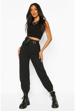Black Cargo Trouser With Belt