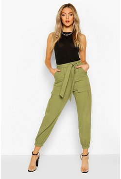 Khaki Pocket Front Belted Cargo Pants