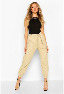 Sand Pocket Front Belted Cargo Pants