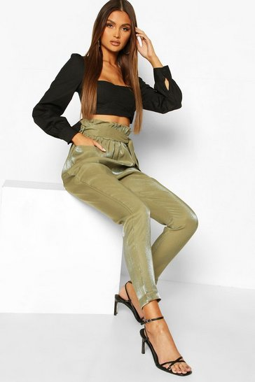 Khaki Paperbag Waist Turn Up Trousers