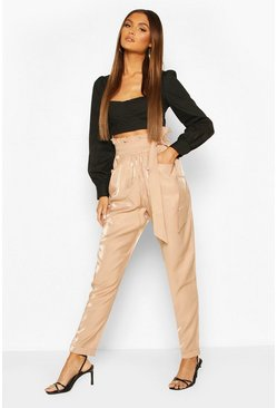 Sand Paperbag Waist Turn Up Trousers
