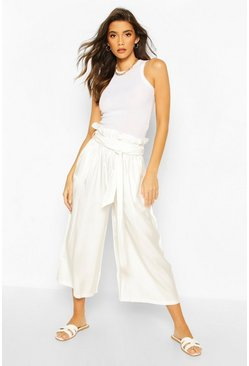 Ivory Paperbag Waist Wide Leg Culottes