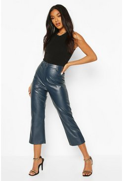 Navy Slim Fit Crop Leather Look Trousers