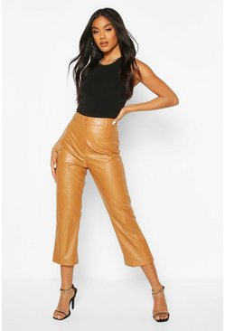 Tan Slim Fit Crop Leather Look Trousers