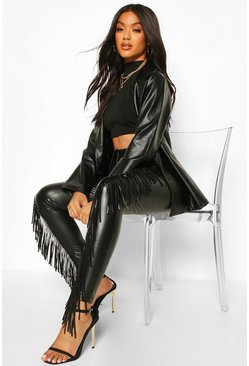 Black Premium Stretch Leather Look Tassle Front Trousers