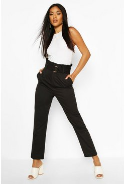 Black Belted Paperbag Waist D Ring Trousers