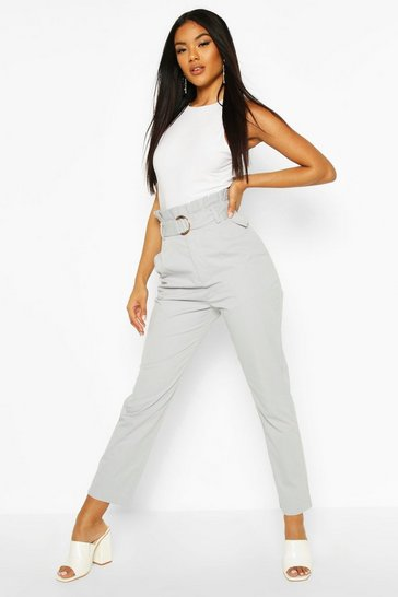 Blue Belted Paperbag Waist D Ring Trousers
