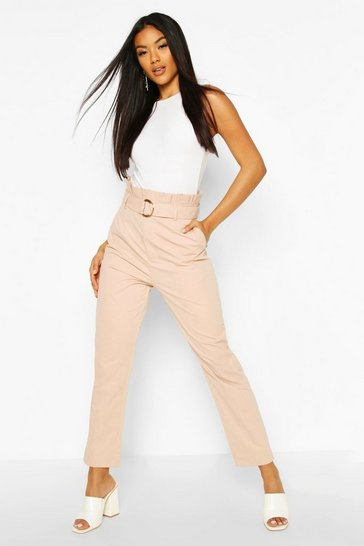 Blush Belted Paperbag Waist D Ring Trousers