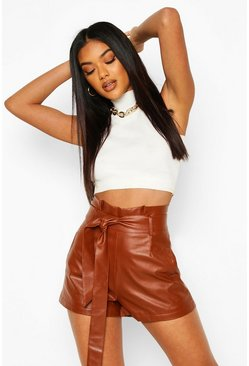 Tan Leather Look Paperbag Waist Shorts
