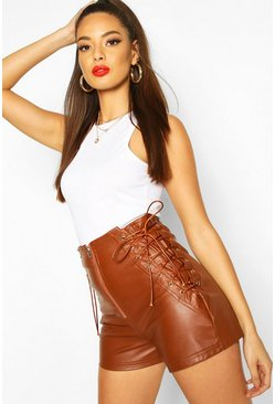 Tan Lace Up Side Faux Leather Shorts