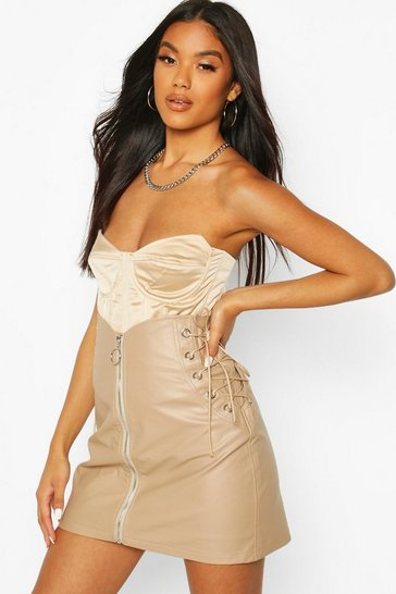 Taupe Lace Up Side Zip Front Mini Skirt