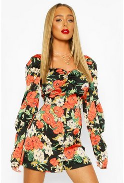 Black Floral Shirred Puff Sleeve Romper