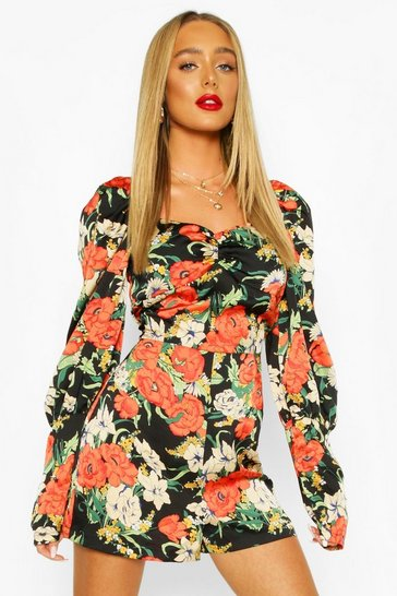 Black Floral Shirred Puff Sleeve Playsuit