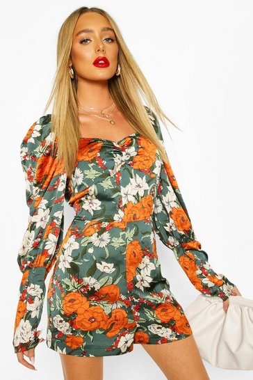 Sage Floral Shirred Puff Sleeve Playsuit