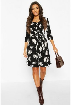 Black Soft Touch Knitted Floral Midi Dress