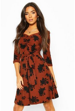 Tobacco Soft Touch Knitted Floral Midi Dress