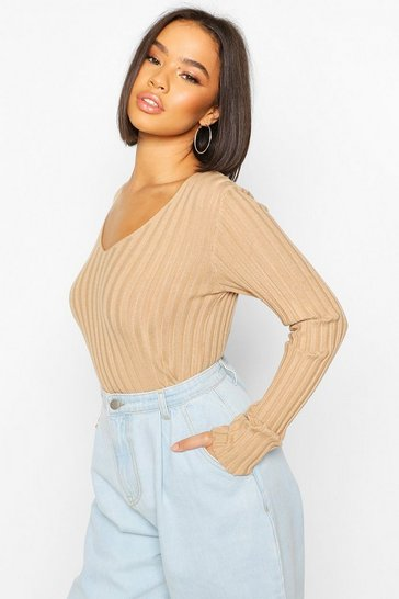 Camel V Neck Rib Knit Top