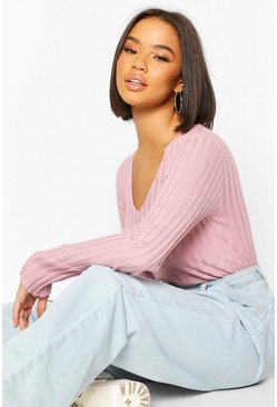 Rose V Neck Rib Knit Top