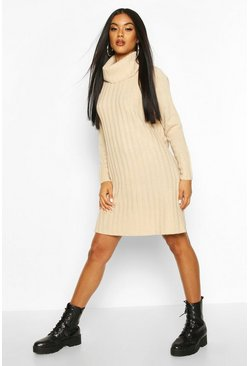 Stone Roll Neck Rib Knit Mini Dress