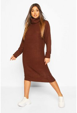 Chocolate Roll Neck Midi Dress