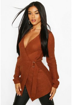 Tobacco Wrap D Ring Belted Cardigan