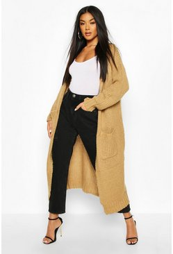 Camel Maxi Edge To Edge Cardigan