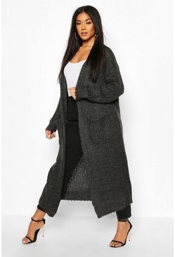 Womens Charcoal Maxi Edge To Edge Cardigan