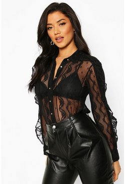 Womens Black Lace Ruffle Detail Shirt