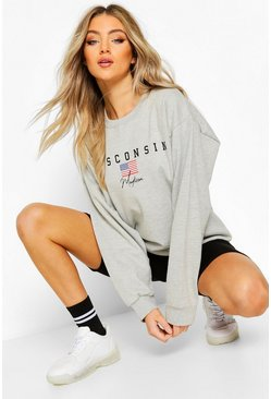 Grey marl Wisconsin Slogan Extreme Oversized Sweat
